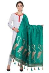 Rama Green & Golden Banarasi Dupatta with Crane Bird Design