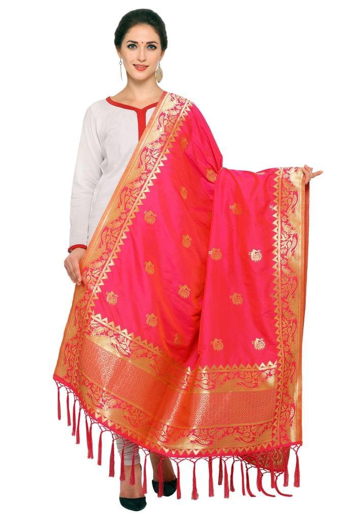 Pink & Golden Art Silk Banarasi Dupatta with Tassel