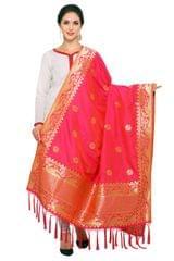 Pink & Golden Art Silk Banarasi Dupatta with Tassel