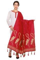 Red And Golden Banarasi Dupatta with Crane Bird Design