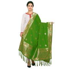 Green& Golden Art Silk Banarasi Dupatta with Tassel
