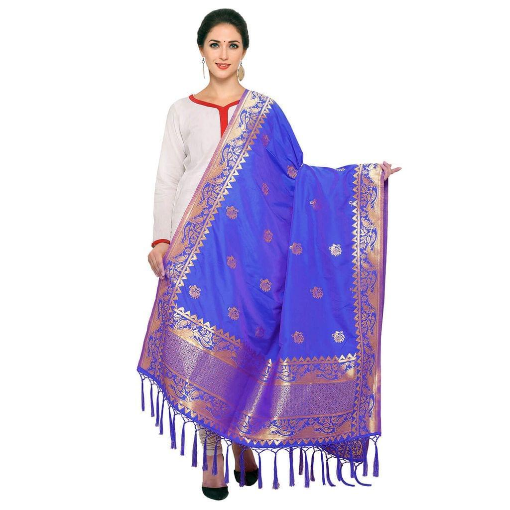 Royal Blue & Golden Art Silk Banarasi Dupatta with Tassel