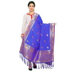 Royal Blue & Golden Art Silk Banarasi Dupatta with Tassel