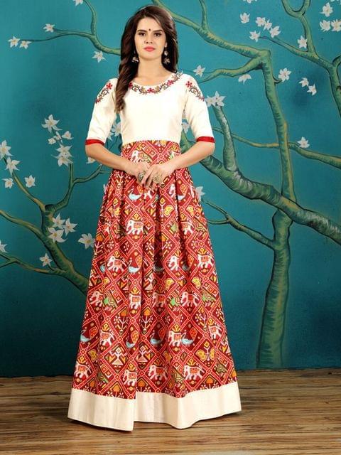 Maroon  Color  Twrill Silk Gown KG-010