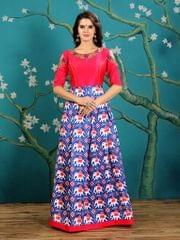 Royal Blue  Color  Twrill Silk Gown KG-011
