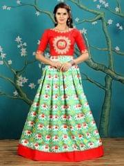 Green  Color  Twrill Silk Gown KG-012