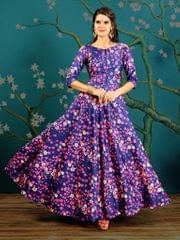 Blue  Color  Taffeta Silk Gown KG-013