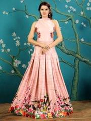 Peach  Color  Taffeta Silk Gown KG-014
