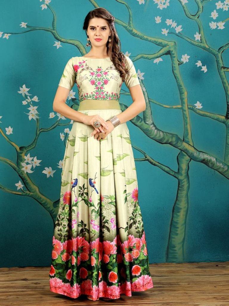 Green  Color  Taffeta Silk Gown KG-015