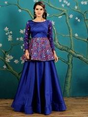 Royal Blue  Color  Taffeta Silk Gown KG-016