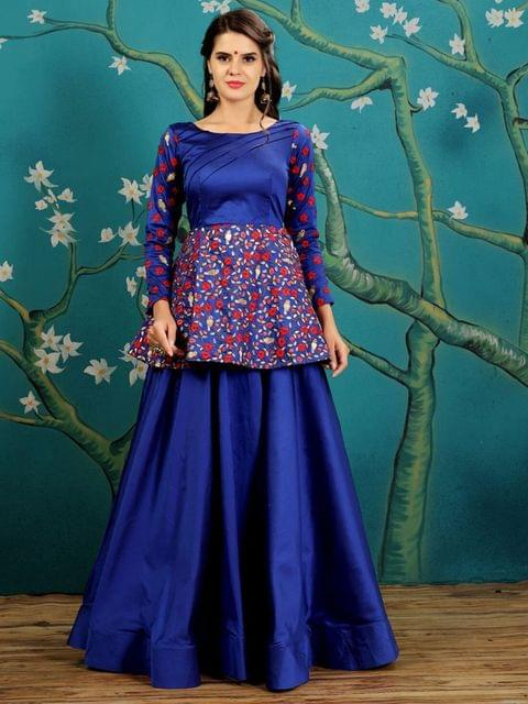 Royal Blue  Color  Taffeta Silk Gown KG-016