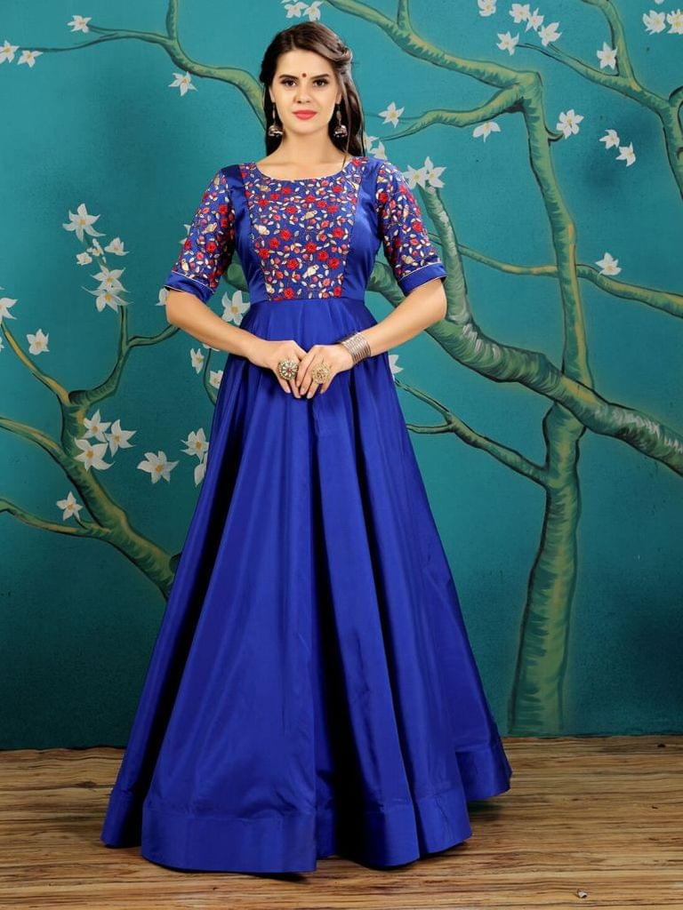 Royal Blue  Color  Taffeta Silk Gown KG-019