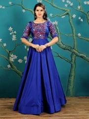 Royal Blue  Color  Taffeta Silk Gown KG-019