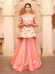 Peach  Color  Taffeta Silk Gown KG-020