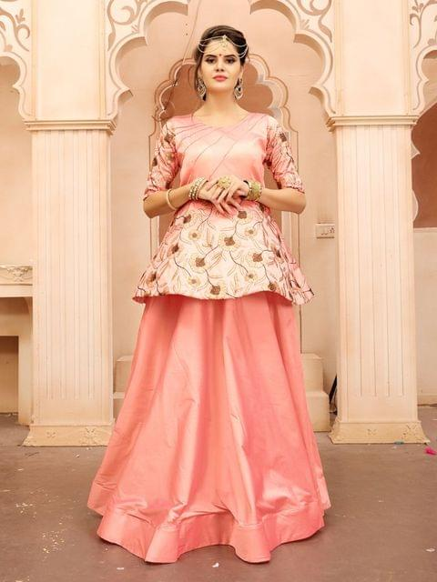 Peach  Color  Taffeta Silk Gown KG-020