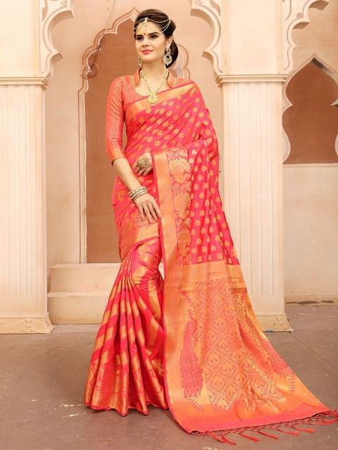 Peach Color  Banarasi Tifi Silk Saree MT-04
