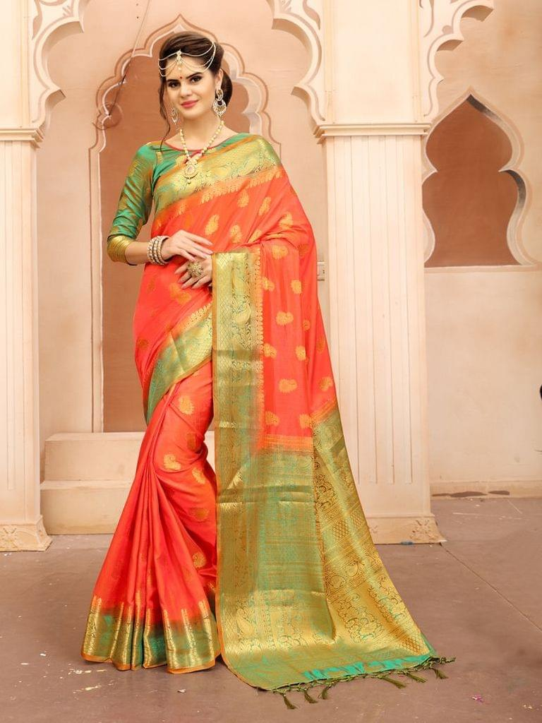 Orange Color  Banarasi Tifi Silk Saree MT-06