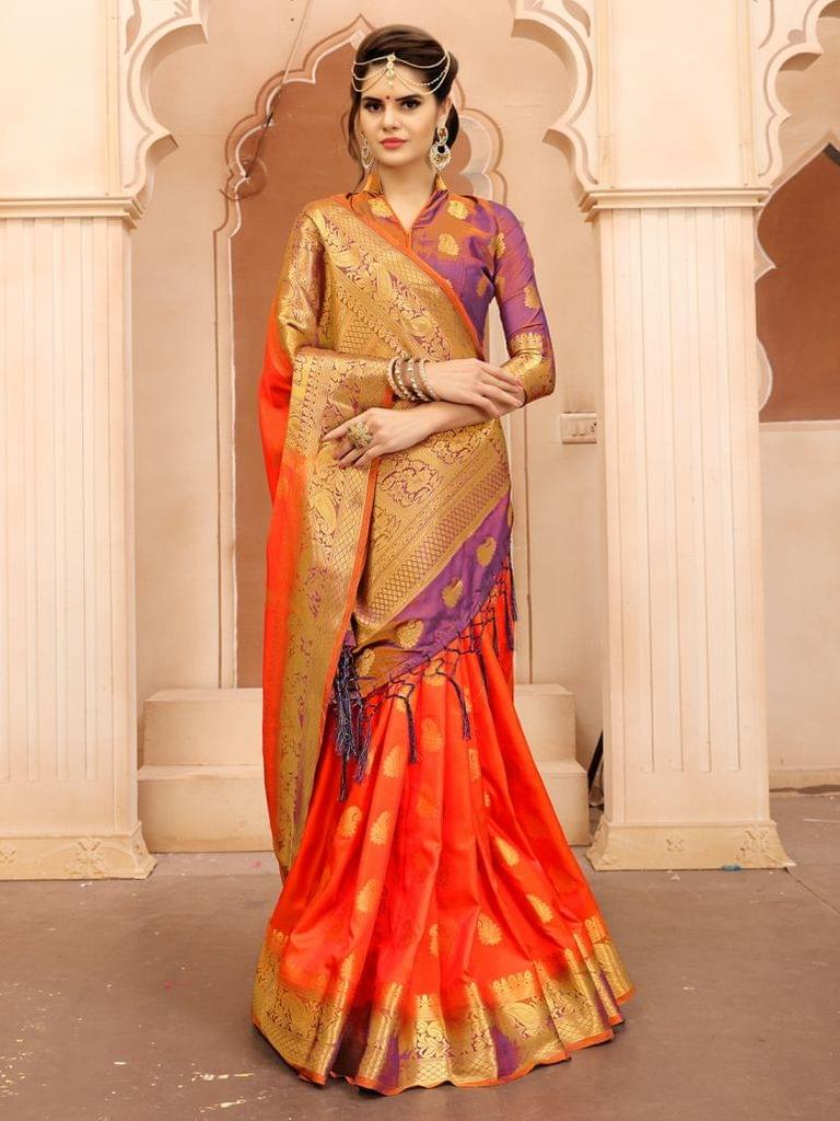Orange Color  Banarasi Tifi Silk Saree MT-07