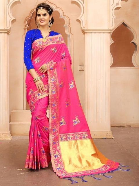 Pink Color  Banarasi Tifi Silk Saree , MT-01