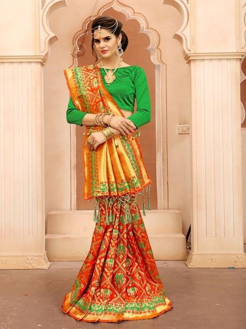 Orange Color  Banarasi Tifi Silk Saree  MT-02