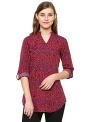 Red Color Polyester Western wear Tunics BLWT-541
