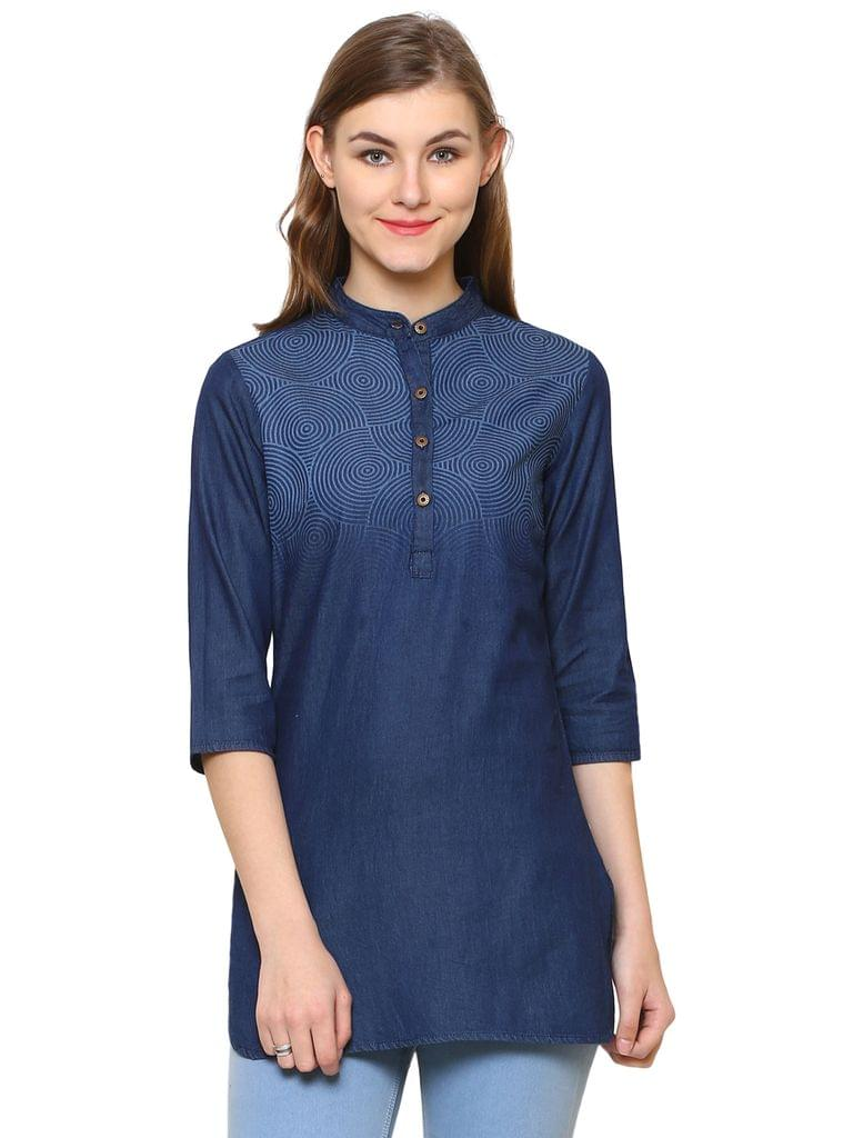 Dark Blue Color Denim Western wear Tunics BLWT-545