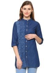 Dark Blue Color Denim Western wear Tunics BLWT-547