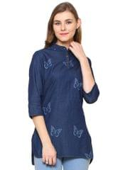 Dark Blue Color Denim Western wear Tunics BLWT-548