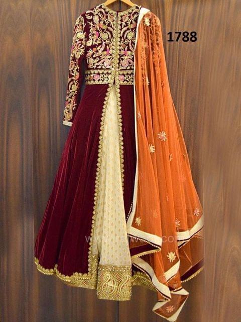 Maroon Color Anarkali Velvet Salwar Suit sty-1788