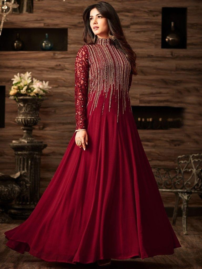 Maroon Color Semi Stitched Georgette Anarkali Salwar SuitSty-4806