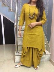 Mustard Color Full Stitched Patiyala Kurti sty-Mustard