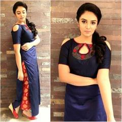 Navy Blue Taffeta Silk Cold Shoulder Straight Kurti  2567