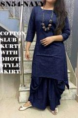 Navy Blue  Color Full Stitched Patiyala Kurti SN54-Navy