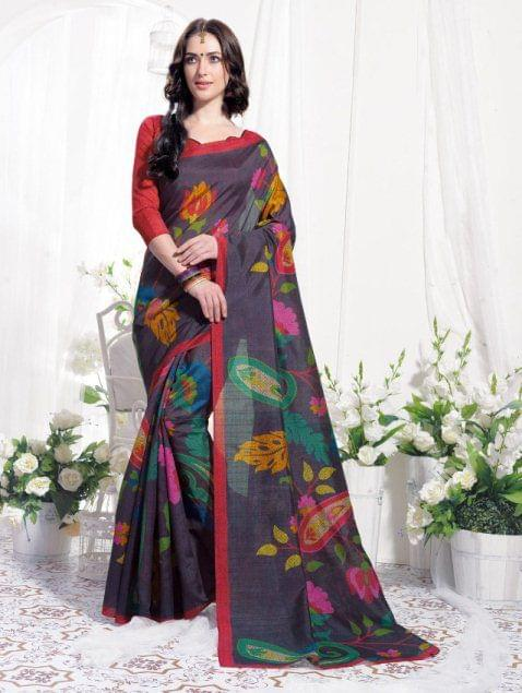 Multi Color  Designer  Bhagalpuri Print  Saree 25991