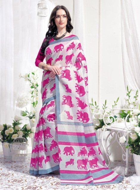 Pink white Color  Designer  Bhagalpuri Print  Saree 25993
