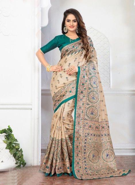 Cream Color Designer khadi Silk Saree 26002