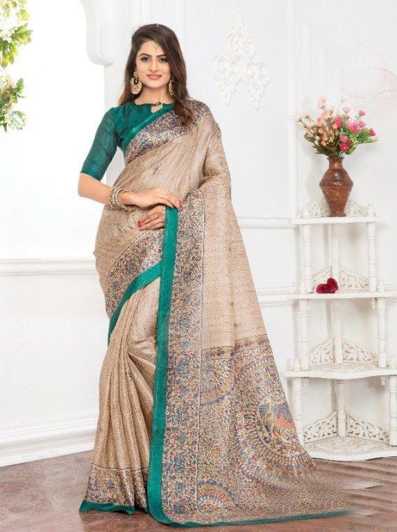 Cream Color Designer khadi Silk Saree 26019