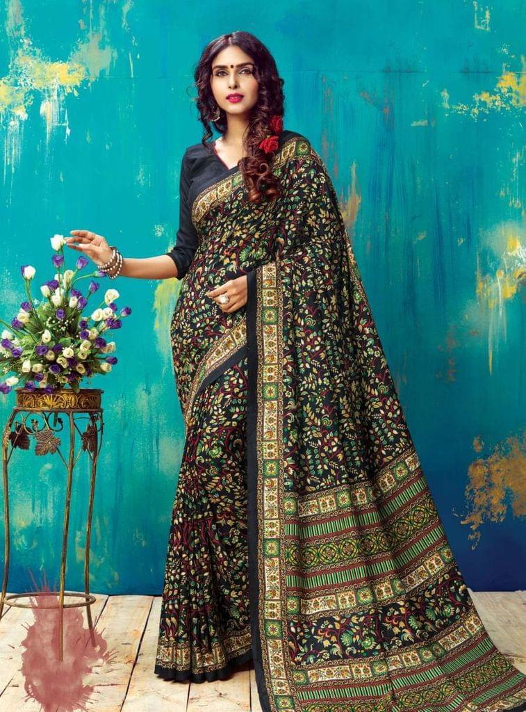Black & Multi Color Designer Banglori Silk Jacquard Saree  26045
