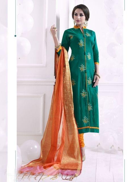 Green Color Khadi Cotton Designer Semi-Stitched Suit 25824
