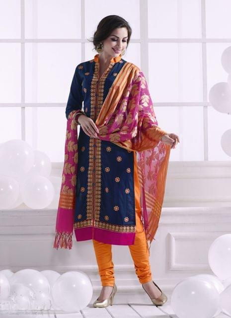 Navy Blue Color Khadi Cotton Designer Semi-Stitched Suit 25821