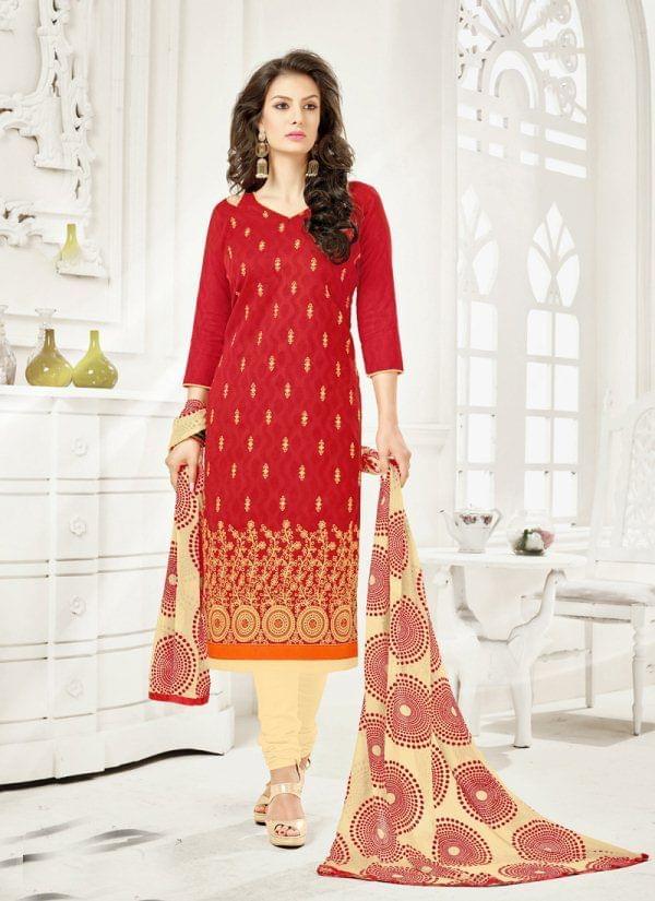 Red Color Brasso Cotton Unstiched Salwar Suit 25907