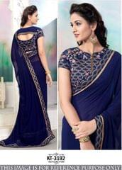 Blue Color 60 Gm Georgette Saree KT-3192