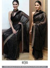 Black Color Georgette Lace Work Plain Saree BT-152