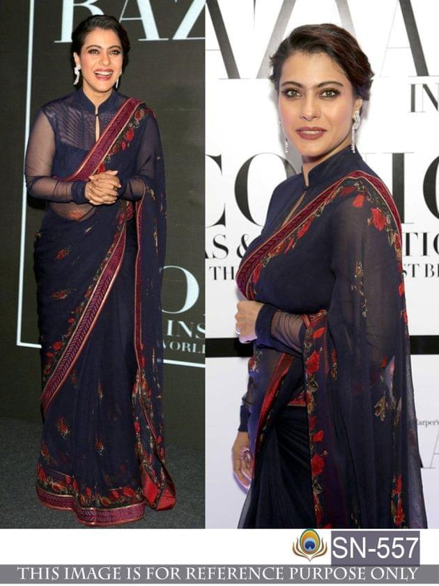 Navy Blue Color Georgette Saree   SN-557