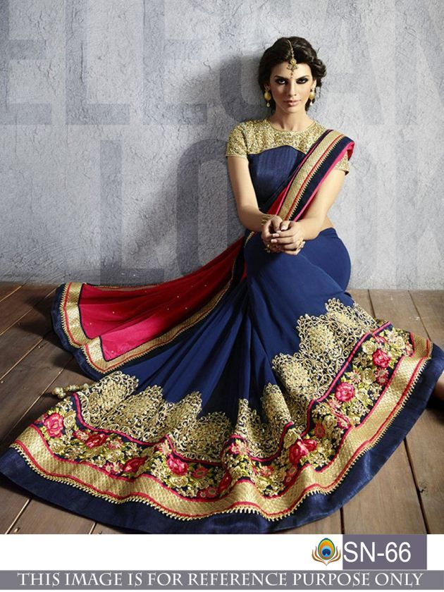 Red & Blue Color Georgette Saree   SN-66