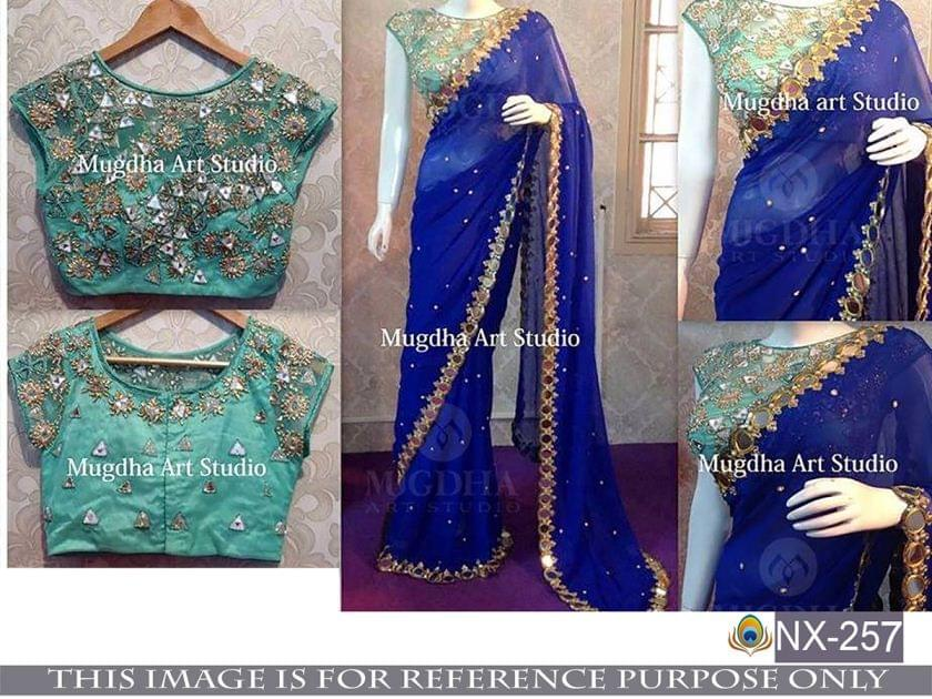 Blue Color 60 Gm Georgette Saree NX-257