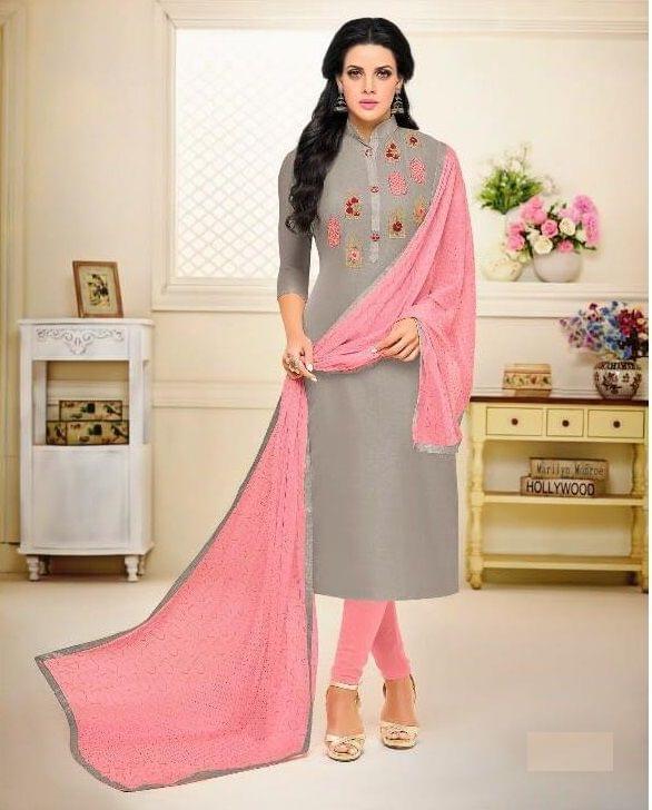 Grey Color Chanderi Cotton Salwar Suit sty-102