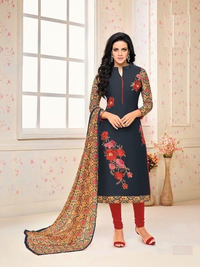 Dark Grey  Color Chanderi Cotton Salwar Suit sty-103
