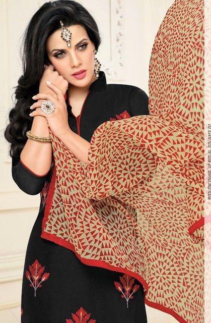 Black Color Chanderi Cotton Salwar Suit sty-105