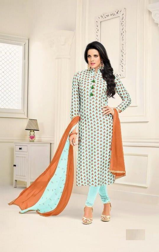 Multi Color Chanderi Cotton Salwar Suit sty-107